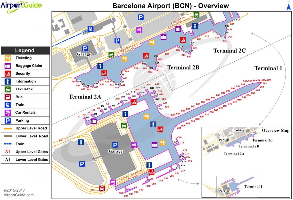 Barcelona Flyplass Terminal 2 Kart Barcelona Flyplass T2 Kart
