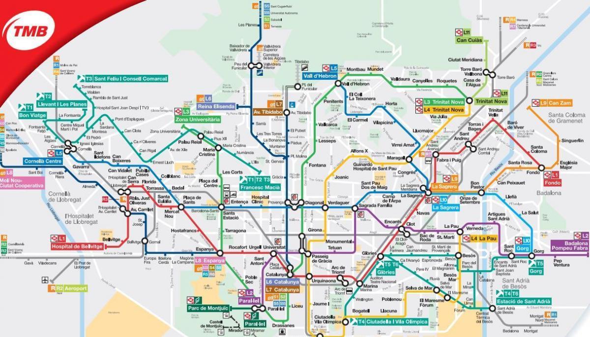 Metro Kart Barcelona Flyplass Kart Over Metro Kart Barcelona